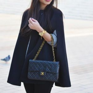 Zara Wool Buttoned Button Cape Faux Leather Trim
